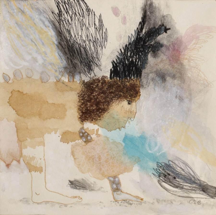 """""""Windwesen"""" 2013 Kaffee, Graphit, Buntstift, Aquarell, Acryl, Ölstift auf Papier, 20x20 cm"""